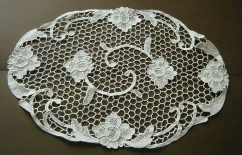 Antique  table doily , topper needle lace floral design hand done Italy