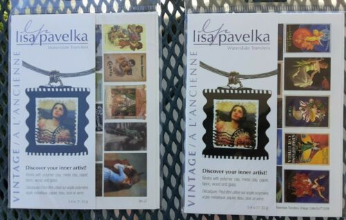 2 Lisa Pavelka Waterslide Transfers Lot for Polymer Clay Glass Wood Paper Fabric