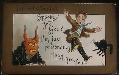 Halloween 1910 Movie (1910 California Pa Usa Picture Postcard PPC Cover Halloween I'm Not)