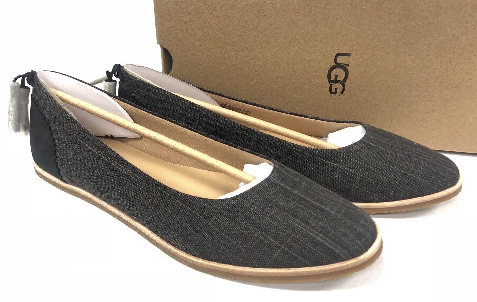 Ugg Australia Mesa Tassel Flats 1018631 Black Slip On Canvas Nubuck Women's Shoe