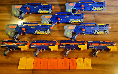 NERF LONGSHOT DART RIFLE LOT of 5 with 4 PISTOL ATTACHMENTS  TESTED FIRE 30+ ft.