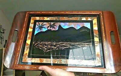 Brazilian Iridescent Butterfly Wing Art Brazil Tray Marquetry Inlay Vintage