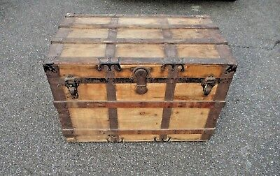 STEAMER TRUNK full interior CHEST furniture ADIRONDACK camp DELIVERY AVAILABLE