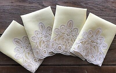 4 Vintage Linen Hand Towels Handmade Battenburg Tape Lace Trim 11x15 Pale Yellow