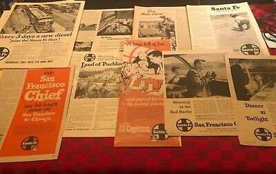 9 Large Santa Fe Railroad Vintage Print Ads Native American Images