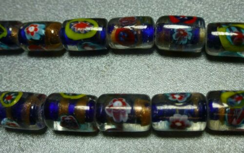 14x10mm clear w/blue & gold inlay Millefiori glass beads, 2 st 30/st, NOS LJ228