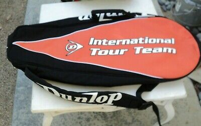 Dunlop International Tour Team Tennis Bag - Shoulder Carrier- Black/Orange/White