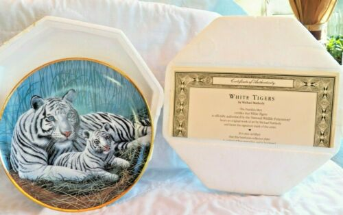 Beautiful Franklin Mint WHITE TIGERS Collector Plate 1992 COA & BOX