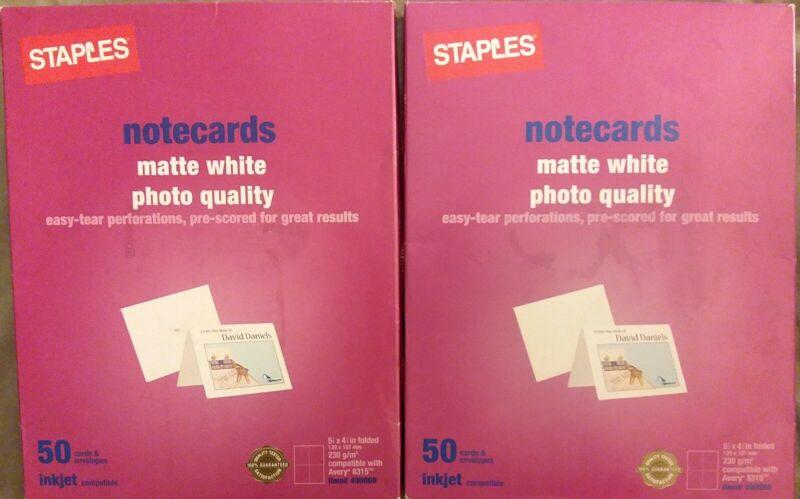 """2x Staples Inkjet Notecards 5 1/2"""" x 4 1/4"""" Matte 50/Pack 490868 OpenBox/ SEALED"""