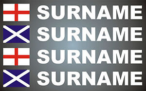 4x Rally Flag/Name Set (Choice of flags) Motorsport Graphics Stickers Decals