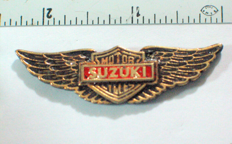 Vintage Suzuki Motorcycle WingsPin  (Large) (Choice of 1-Goldtone or Silvertone)