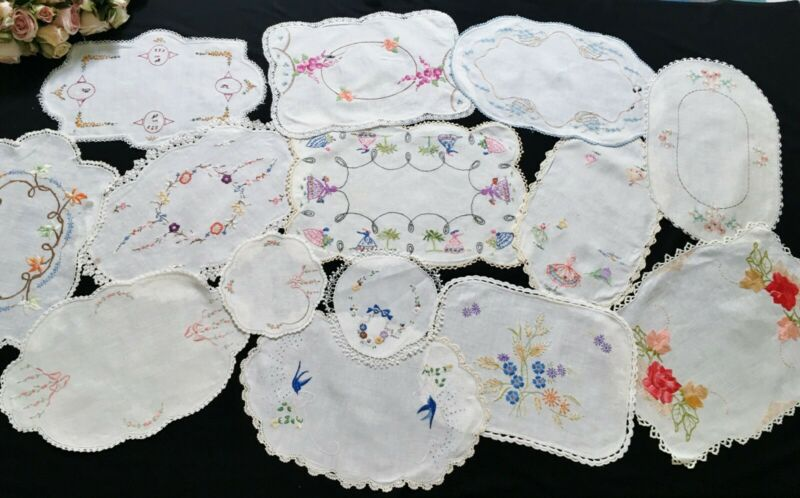 14 Vintage Hand Embroidered Doilies for Craft Use