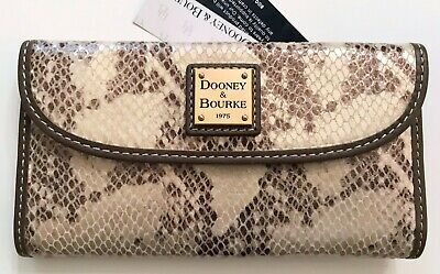 Dooney & Bourke Pewter snake embossed leather trifold continental wallet, R$128