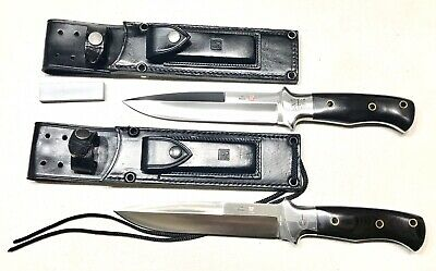 Pair Vintage 1980'Seki Japan Al Mar Green Berets Combat Dagger Knife Sheath Mint