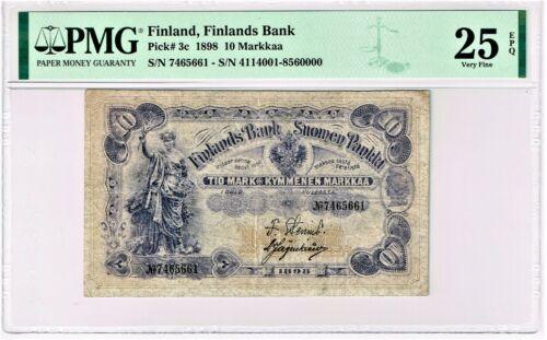 Finland: Finlands Bank 10 Markkaa 1898 Pick 3c PMG Very Fine 25 EPQ.
