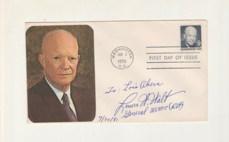 Lewis Walt signed First Day Cover Marine 4 Star General WWII, Korea, Vietnam