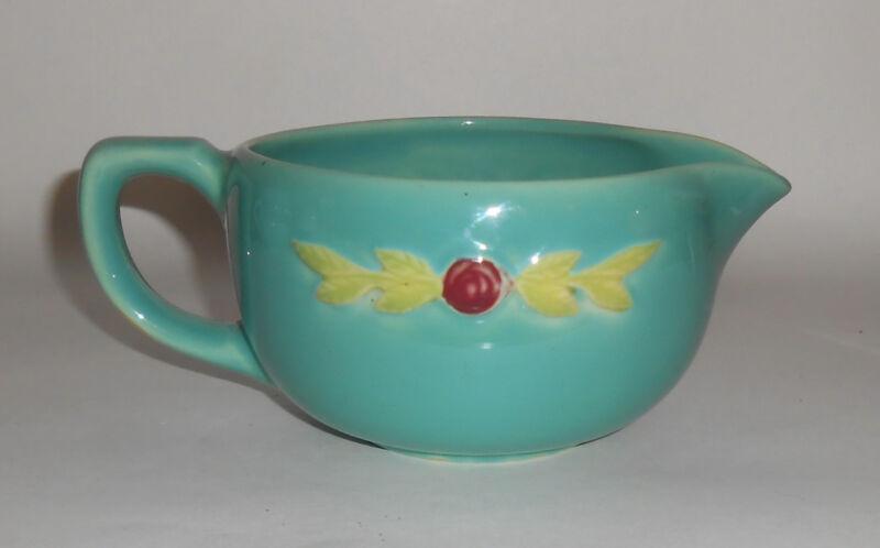 Coors Pottery Rosebud Green Small Handled Batter Bowl! MINT
