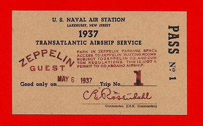 Hindenburg Airship Last Flight Ticket Reprint On 80 Year Old Paper Zeppelin