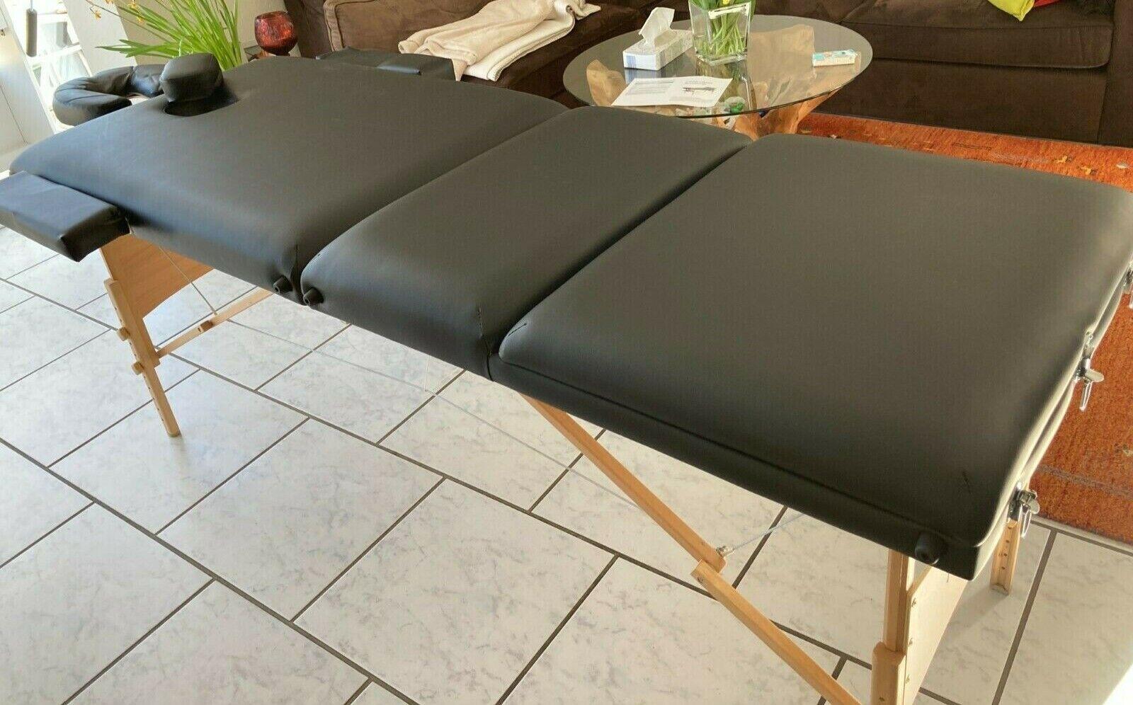 Massagebank Massageliege Massagetisch Holz klappbar 3 Zonen Mobil