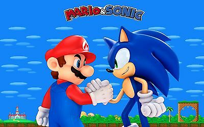 Super Mario & Sonic Edible Birthday Cake Topper Frosting Icing 1/4 Sheet (Sonic Cake)