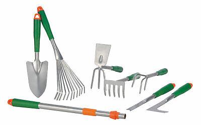 Gartenwerkzeug Set - 8-teilig - Gartengeräte m. Rechen, Harke, Schaufel Teleskop