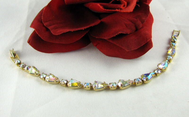 Vintage Weiss Dazzling AB Rhinestone  High End  Bracelet CAT RESCUE