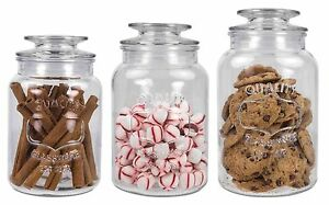 Home Basics NEW Clear Glass 3PC 3 Piece Decorative Cookie Candy Jar Set- CS44592