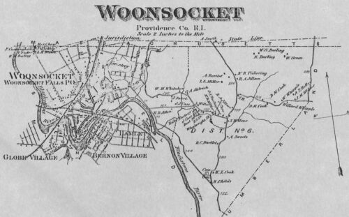 Woonsocket RI 1870 Maps with Homeowners Names Shown