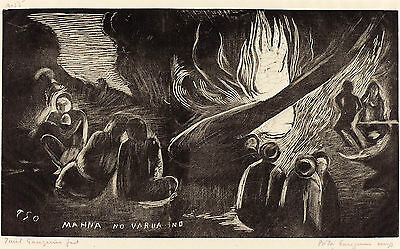 Gauguin Woodcuts: The Devil Speaks (Mahna no Varua)- Fine Art Print