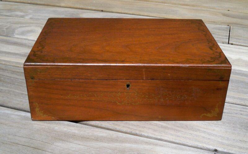 Antique/Vintage Wooden Portable Writing/Document Lap Desk Box w/ Wood Dominoes
