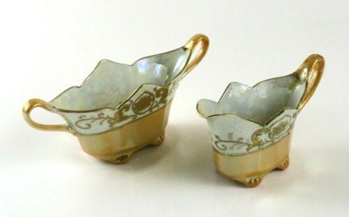Vintage Gold Lusterware Sugar Bowl & Creamer Hand Painted, Japan, Rough Repair