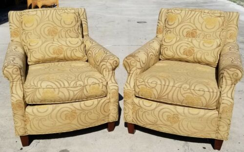 Pair of LEXINGTON HOME FURNISHINGS Upholstered Club Accent Armchairs Very Nice!