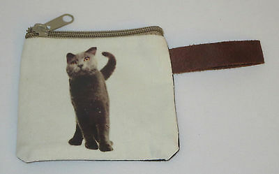 """Gray Cat Coin Purse Leather Strap New Zippered 4"""" Long Cats British Shorthair"""