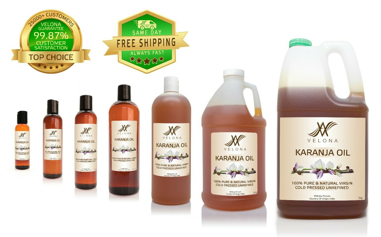 Karanja Oil 2oz-7lb UNREFINED NATURAL VIRGIN Cold Pressed 100% PURE VELONA Health & Beauty