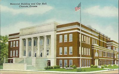 OLD VINTAGE MEMORIAL BUILDING AND CITY HALL IN CHANUTE KANSAS POSTCARD