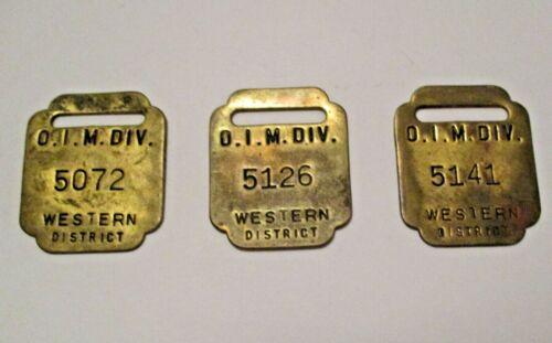 3 VINTAGE OLIVER IRON MINING Co. U. S. STEEL IRON RANGE BRASS EMPLOYEE ID TAGS