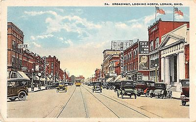 Lorain Ohio Broadway Looking North General Street Scene Antique Postcard V19037