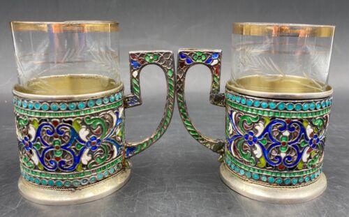 Elegant Antique Russian Style Silver Gilt & Cloisonné Enamel Tea Cup Pair #2