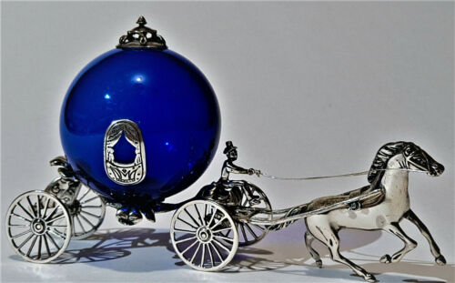 Sterling Silver Cinderella Carriage Cobalt Blue Glass Vintage Italy Italian 925