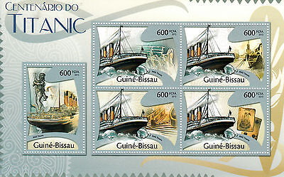 Guinea-Bissau 2012 MNH Titanic Cent Sinking 5v M/S Boats Ships Stamps
