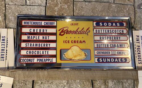 Brookdale ice cream menu glass metal frame flavors Glendale California Woolworth