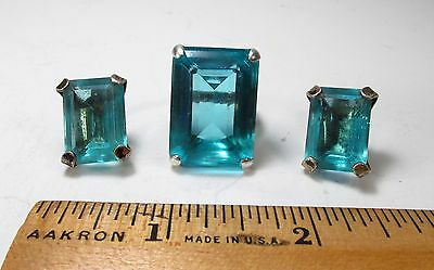 Vintage 1940s Art Deco Sterling Silver Blue Rhinestone Cocktail Ring Earring Set