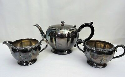 Vintage Wm A Rogers Silver Plated Tea Pot Set 9377 V42 Over Copper BM MTS