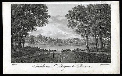 BREMEN - St. MAGNUS schöne Ansicht - Kupferstich von 1822 - Original!!