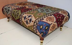 New Large Handmade Footstool - Warwick 'Anthropology' Kilim Fabric. 4 colours!!!
