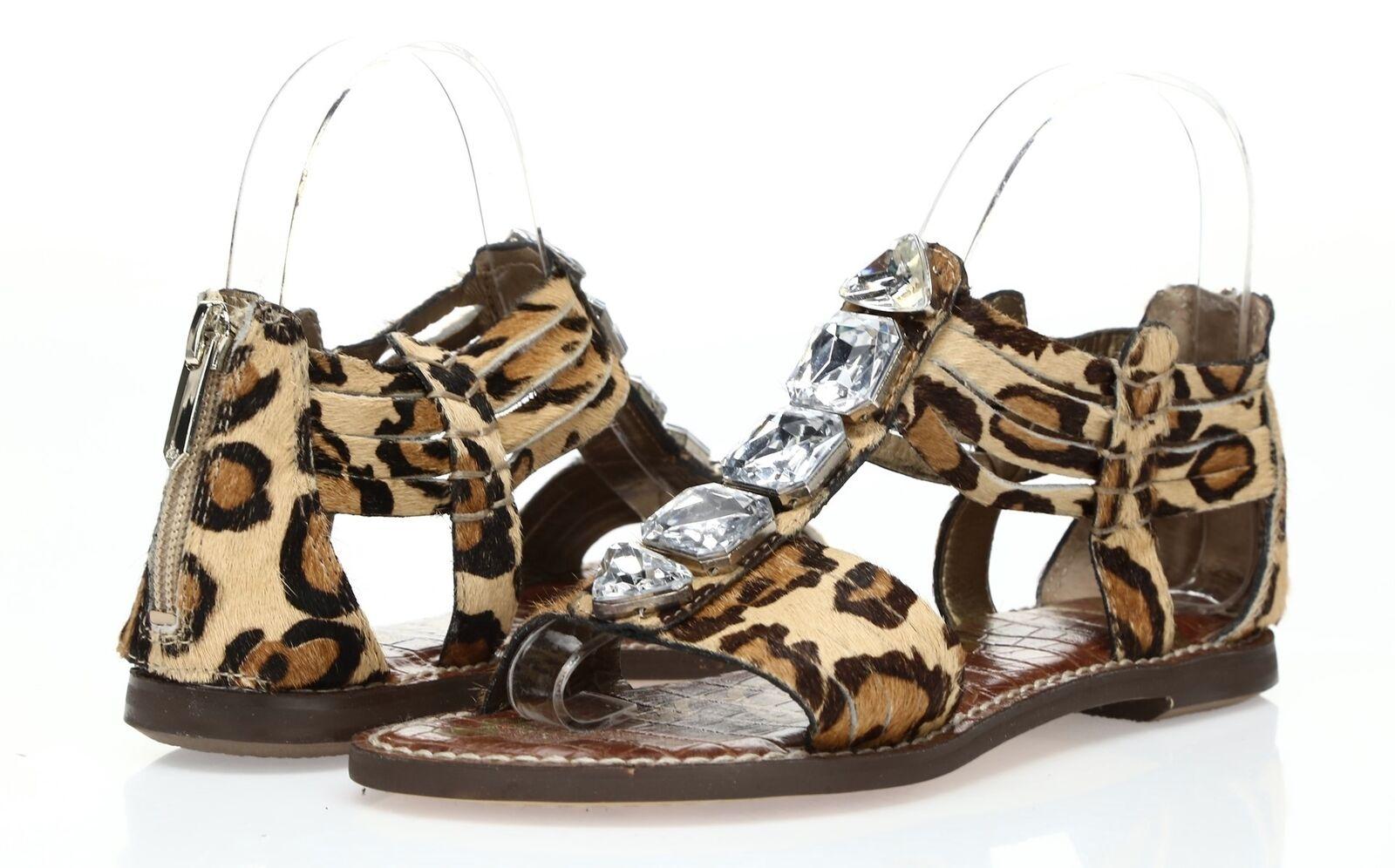f53a9be80a4e Details about Womens SAM EDELMAN leopard print leather   cow fur w  stones  sandals sz. 7-10 M