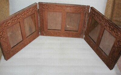 ORIENTAL CARVED TEAK WOOD TRYPTYCH FOLDING PHOTOGRAPH / PICTURE FRAME