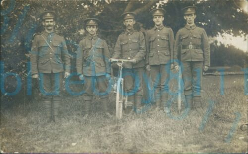 WW1 Brecknockshire Battalion Group photo with bicycle Milford haven