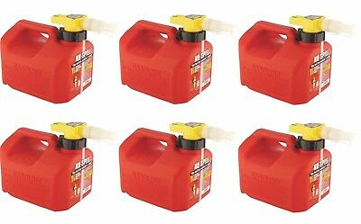 Lot Of 6 No-spill 1415 1-14-gallon Poly Gas Can Carb Compliant Red 1.25 Gal