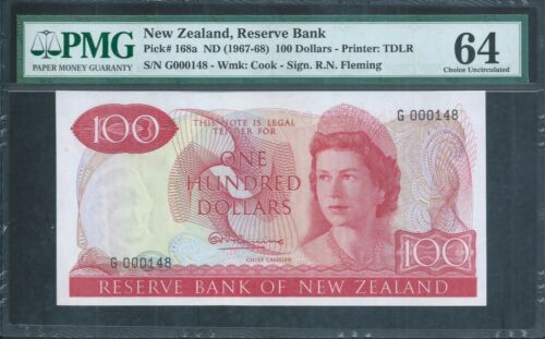 "NEW ZEALAND $100 P168a 1st prefix ""G"" low no.148 QEII PMG 64 Choice Uncirculated"